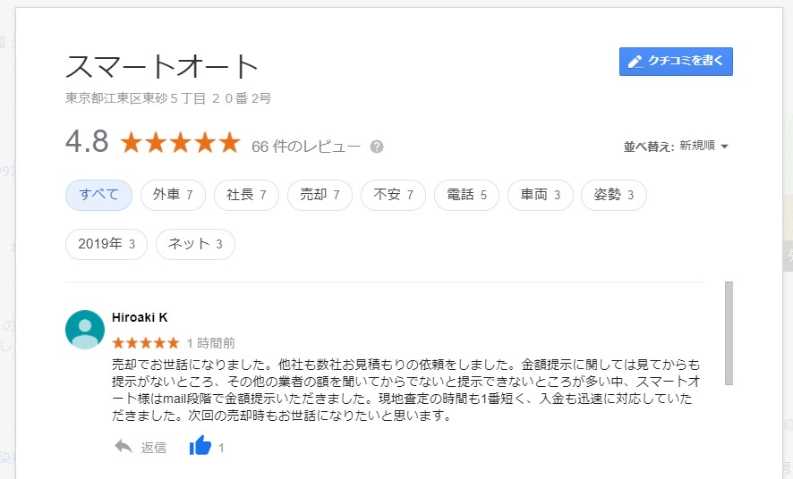"""""""アウディ A3 1.4TFSI スポーツ・SラインPKG"""" をご売却いただきました神奈川県K様よりグーグルのクチコミを頂きました。"""